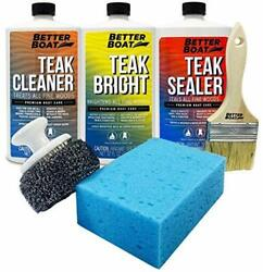 Teak Cleaner Set With Scrub And Brush For Cleaning Deck Patio Furniture