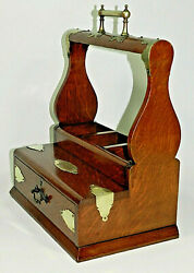 Antique Oak And Brass Tantalus 1900's