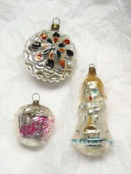3 1930s Antique Xmas Ornaments Angel Double Sided Star Basket Germany Japan