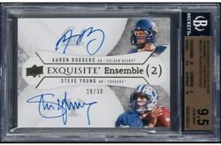 2012 Exquisite Collection Ensemble 2 Signatures Aaron Rodgers/steve Young Autos