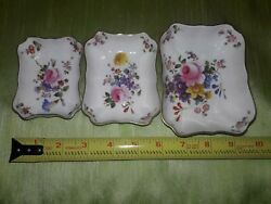 3 Royal Crown Derby Bone China Trinket Dishes Set Derby Posies Made In England