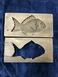 Used Kashigata Pastry Mold Wagashi Antique Sea Bream Wooden Mold From Japan