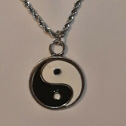 Yin Yang ☯️ Pewter Pendant Charm / 24 Stainless Rope Chain Necklace