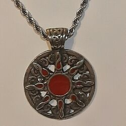 Sun Celtic Knot Pewter Pendant Charm / 24 Stainless Rope Chain Necklace