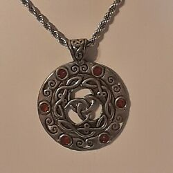 Circle Celtic Knot Pewter Pendant Charm / 24 Stainless Rope Chain Necklace