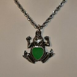 Green Frog 🐸 Pewter Pendant Charm / 24 Stainless Rope Chain Necklace