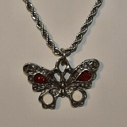 🦋 Butterfly Pewter Pendant Charm / 24 Stainless Rope Chain Necklace