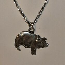 🐖 Pig Pewter Pendant Charm / 24 Stainless Rope Chain Necklace