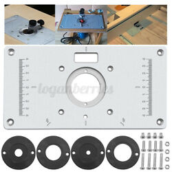 Aluminum Router Table Insert Plate W/ 4 Rings Screws For Woodworking Bench L
