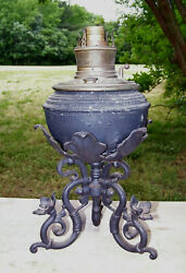 Antique Large Banquet Oil Lamp With Cast Iron Base And Brass Font