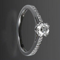 Diamond Solitaire And Accents Ring 1.35 Ct 14 Kt White Gold Round Size 6.5 8 9