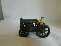 Vintage Cast Iron Toy Tractor Ford / Fordson With Driver Dark Green Farm Toy