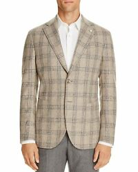 L.b.m. 1911 Mens Slim Fit Wool And Cashmere Plaid Taupe Sportcoat 50r It 60
