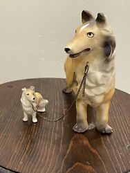 2 Vintage Dog Couple Ceramic figurines with Chains Collie 8085 Japan