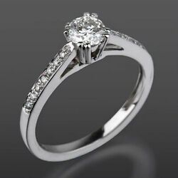 Diamond Ring Solitaire Accented Vs D 18 Kt White Gold 8 Prong Women 1.19 Carat
