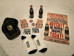 Dublin Dr Pepper Set Hat Socks / Boycott 2012 Wooden Nickels And Poster And Flyers