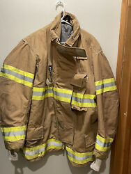 Ppfd Inno-tex Turnout Firefighter Brown Jacket Coat Yellow Tape 52-2-r 2xl