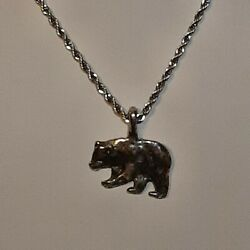 Poplar Bear Pewter Pendant Charm / 24 Stainless Rope Chain Necklace