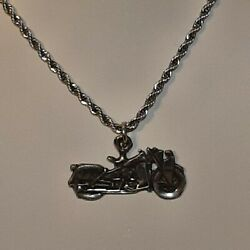 Motorcycle Biker Pewter Pendant Charm / 24 Stainless Rope Chain Necklace