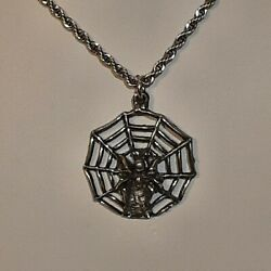 Spiderweb Spider Web Pewter Pendant Charm / 24 Stainless Rope Chain Necklace