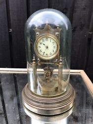 Antique C1900 Angemeldet German Brass Anniversary Torsion Clock With Glass Dome