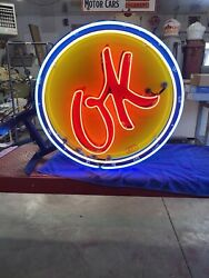 Neon Ok Use Car Porcelain Sign Chevrolet And Ford Gas And Oil