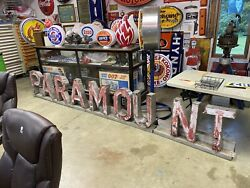 Paramount Neonmovie Theater Sign, Not Porcelain, Gas And Oil, Chevrolet And Ford