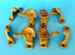 Vtg Window Sash Latches W/ Keepers Cast Iron Replacement Parts 4 Sets Salvaged