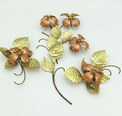 Vintage Metal Brass Copper Dogwood Blossoms And Leaves 3 Pc Set Wall Decor Homco