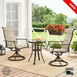 3 Piece Patio Dining Table And Chairs Outdoor Garden Bistro Wicker Rattan Set