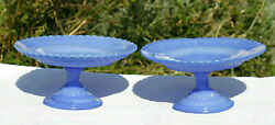 A Pair Of Antique French Blue Opaline Pedestale Cake Stands 30s Vallerysthal