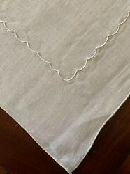 Great Find 4 Identical Vintage Cream Linen Tablecloths 48x50@ W Embr. Scallops