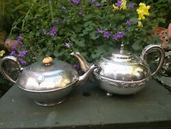 Pair Of Vintage/antique Silver Plated Teapots - 1920s - Rub For Aladdin