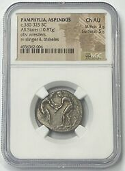 Pamphylia Aspendos 380-325 Bc Silver Stater Ngc Chau Greek Wrestlers Must Buy