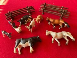 Schleich Farm Animal Lot Of 9 Plus Fence 7 8andrdquo Pieces Cow Horse Pig Goat Duck