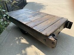 Antique Vintage Warehouse/railroad Cart Coffee Table