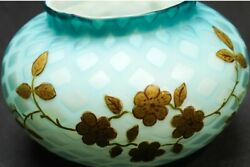 Webb Satin Victorian Mother Of Pearl Large Antique Blue Glass Bowl