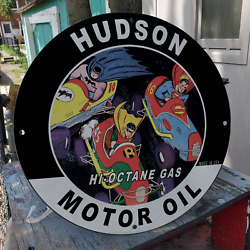 Vintage Hudson Motor Oil And039and039batman And Supermanand039and039 Porcelain Gas And Oil Pump Sign