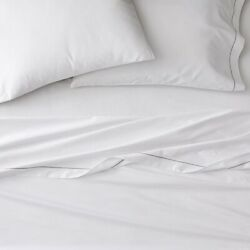 Nwt West Elm 400 Thread Count Organic Sateen Sheet Set Queen White And Platinum
