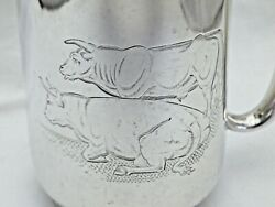 Antique Exeter Tankard One Pint Solid Silver 1877 Interesting Engraved Cattle