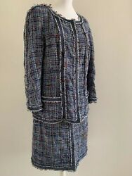 Authentic Blue Tweed Suit Size 50 Zip Jacket And Skirt Lace And Ribbon Trim