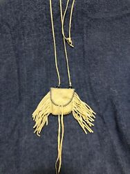 Beaded Native American Plains Medicine Pouch Soft Buckskin. Needs Cleaning.
