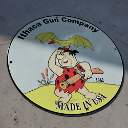 Vintage 1962 Ithaca Gun Company And039and039fred Flintstoneand039and039 Porcelain Gas And Oil Sign