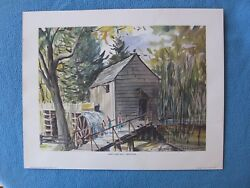 Tennessee Smoky Mountains Signed Art Print 1973 John P. Cable Mill Cades Cove