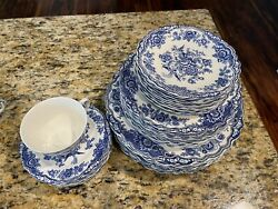 """52 P.c Antique """"bristol"""" Crown Ducal England Blue Peacock And Flower Dinnerware"""