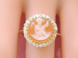 Antique .75ctw Mine Diamond Carved Guardian Angel Agate Cameo 18k Ring C1880