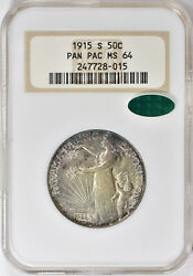 1915-s Pan Pac Commemorative Half Ms-64 Ngc/cac Certified
