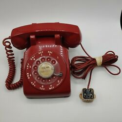 Vintage Red Bell System Western Electric Rotary Desk Phone W/cord And Plug Cd500