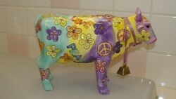 Colorful Ceramic Cow Figurine/coin Bank Love Peace 10.2 X 3.8 And 7.1 Tall