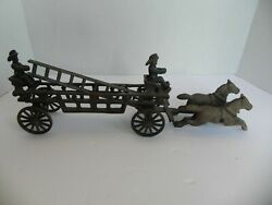 Antique Early Cast Iron Horse-drawn Fire Truck Engine Wagon W/ Ladders Firemen